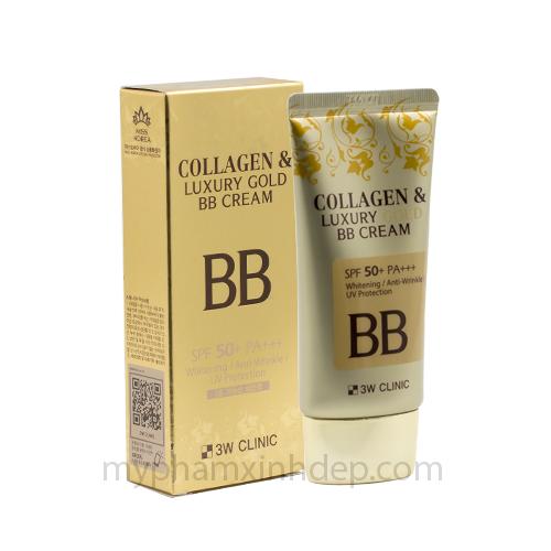 Kem Nền Che Khuyết Điểm Collagen And Luxury Gold BB Cream 3W Clinic Hàn Quốc